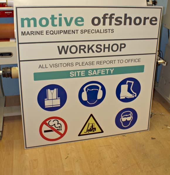 Motive Offshore site safety signs