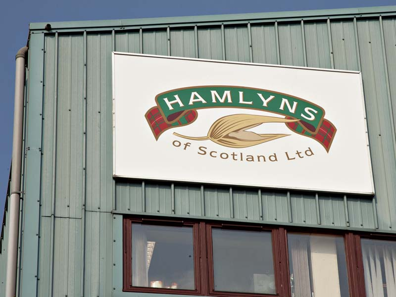 Close up of Hamlymns Factory Sign by Addison Graphics